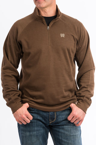 Men's 1/4 Zip Pullover Sweater - Brown