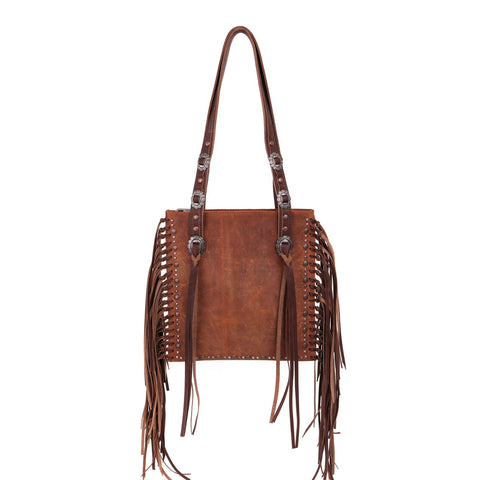 Montana West Real Leather Fringe Collection Concealed Carry Boho Shoulder Bag -Brown/Cofee