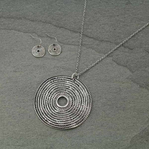 Coiled Rope Circle Pendant Necklace Set - Bronco Western Supply Co.