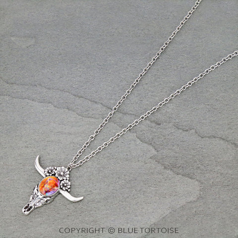 Western Glass Bubble Buffalo Print Steer Skull Pendant Necklace - Bronco Western Supply Co.
