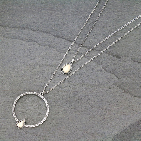 Double Strand Layered Necklace With Natural White Stone Pendant - Bronco Western Supply Co.