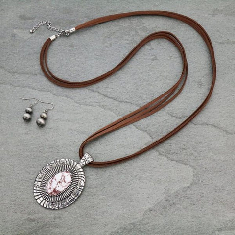 Western Style Leather Necklace with Natural Stone Set - Bronco Western Supply Co.