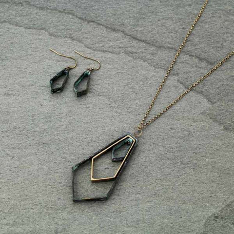 Geometric Patina and Gold Pendant Necklace Set - Bronco Western Supply Co.