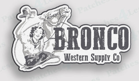 Bronco Western Supply Lady Iron-On Patch - Bronco Western Supply Co.