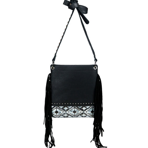 Montana West Real Leather Fringe Shoulder/Crossbody Bag - Black