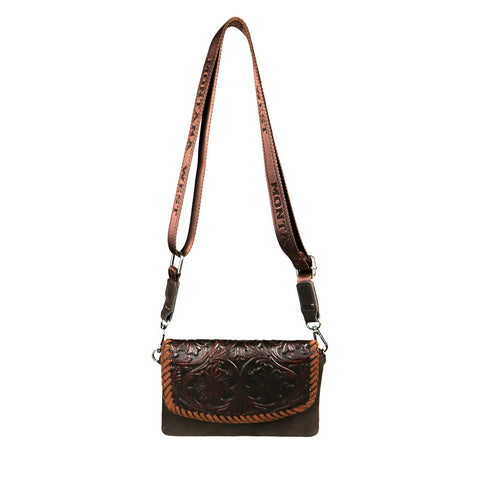 Montana West 100% Genuine Leather Floral Tooled Collection Clutch/Crossbody - Coffee - Bronco Western Supply Co.
