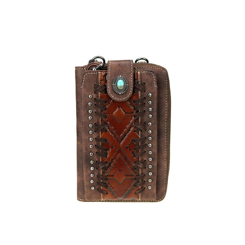 Trinity Ranch Embossed Collection Phone Wallet/Crossbody Purse - Coffee - Bronco Western Supply Co.
