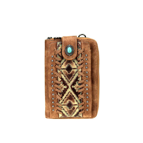 Trinity Ranch Embossed Collection Phone Wallet/Crossbody Purse - Turquoise - Bronco Western Supply Co.
