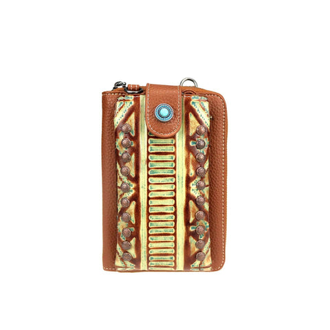 Trinity Ranch Embossed Collection Phone Wallet/Crossbody with Rivets - Bronco Western Supply Co.