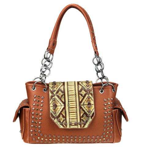 Trinity Ranch Embossed/Fringe Collection Concealed Carry Satchel - Brown - Bronco Western Supply Co.