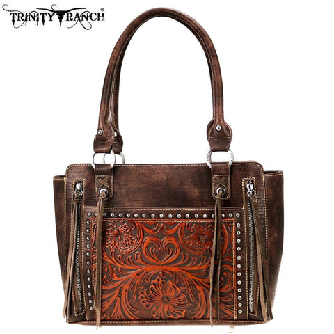 Trinity Ranch Tooled Leather Collection Tote Purse - Coffee - Bronco Western Supply Co.