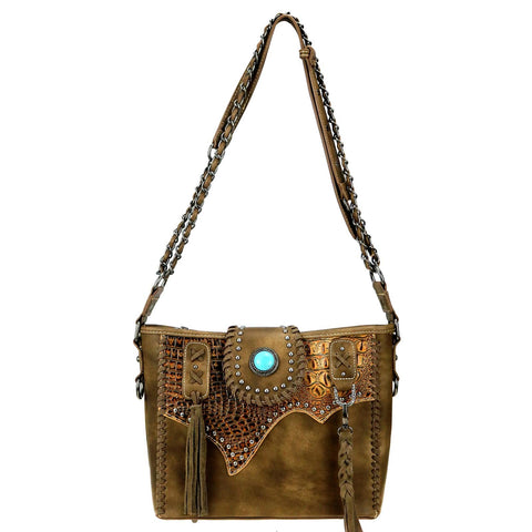 Trinity Ranch Tooled Leather Collection Concealed Carry Hobo/Crossbody Purse - Coffee - Bronco Western Supply Co.