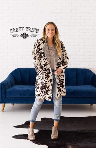 Top Hand Cardigan - Cow Print