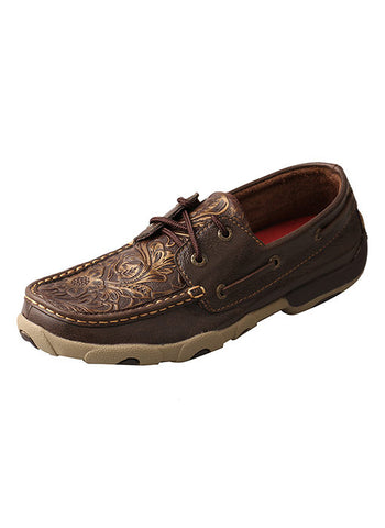 Twisted X Women's Driving Moccasins – Brown/Emboss Flower - Bronco Western Supply Co.