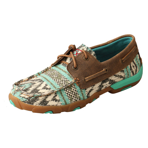 Twisted X Women's Multicolored Canvas Boat Shoes - Moc Toe - Bronco Western Supply Co.