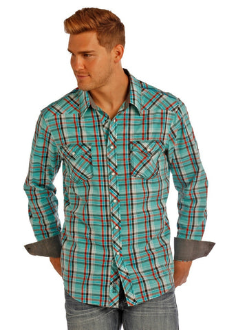 Crinkle Wash Plaid Snap Shirt