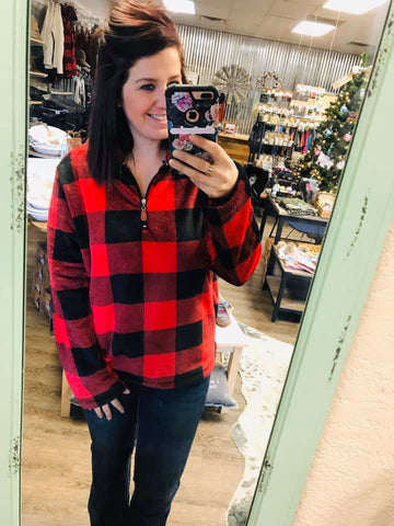 Cabin in the Woods Minky Buffalo Plaid 3/4 Zip