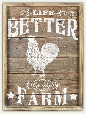 """Life is Better on the Farm"" Rooster Plaque - Bronco Western Supply Co."