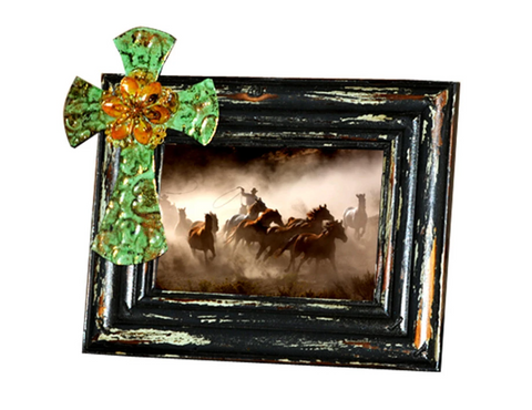 "Montana West Flower Cross Wood Photo Frame 6"" x 4"" - Bronco Western Supply Co."