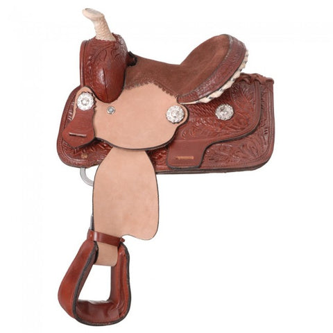 Miniature Western Barrel Saddle with Rawhide