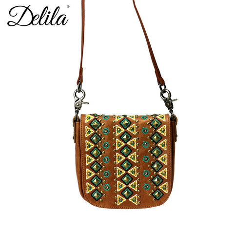 Delila 100% Genuine Leather Crossbody - Brown