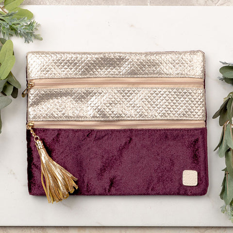 Versi Makeup Bag- Purple Reign Plum Velvet - Bronco Western Supply Co.