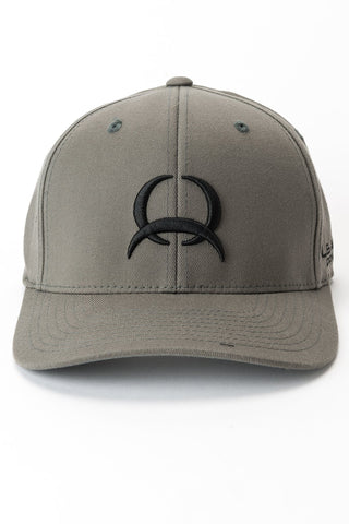 Gray Cinch Flexfit Cap with Black Embroidery Logo, front