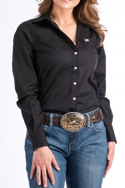 Women's Solid Black Button Down Western Shirt