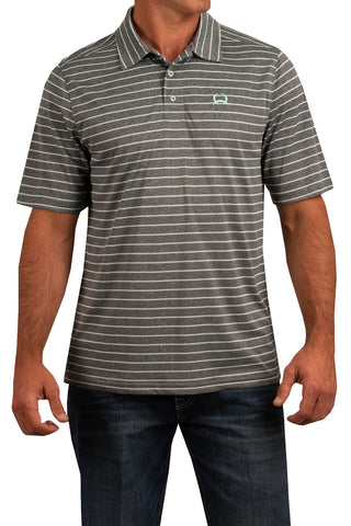 Cinch Arenaflex Polo - Gray and Turquoise Stripe - Bronco Western Supply Co.