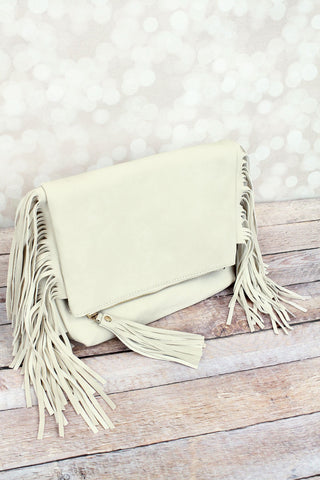 Fringed Crossbody Clutch - Ivory - Bronco Western Supply Co.
