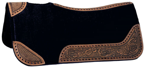 30 x 30 Buckstitch Barrel Saddle Pad - Black - Bronco Western Supply Co.