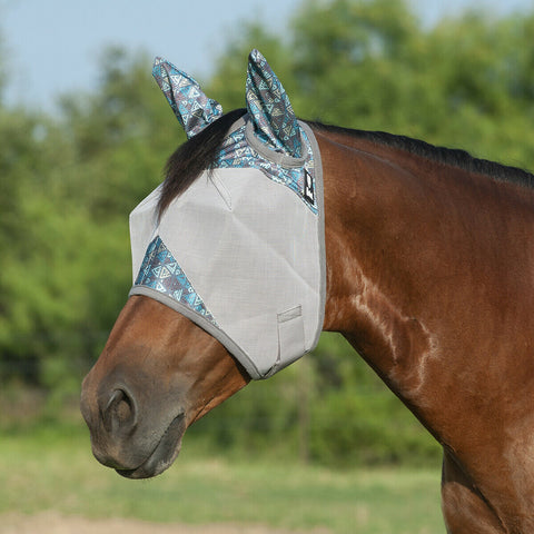 Patterned Crusader Fly Mask with Ears - Teal Tribal - Bronco Western Supply Co.