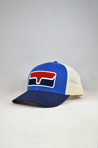 trucker cap with blue face and dark blue bill, Kimes patch is red above the logo and dark blue below