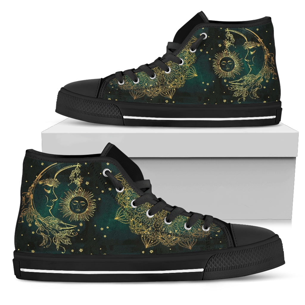 Sun & Moon Handcrafted Black Sole High Top Shoes