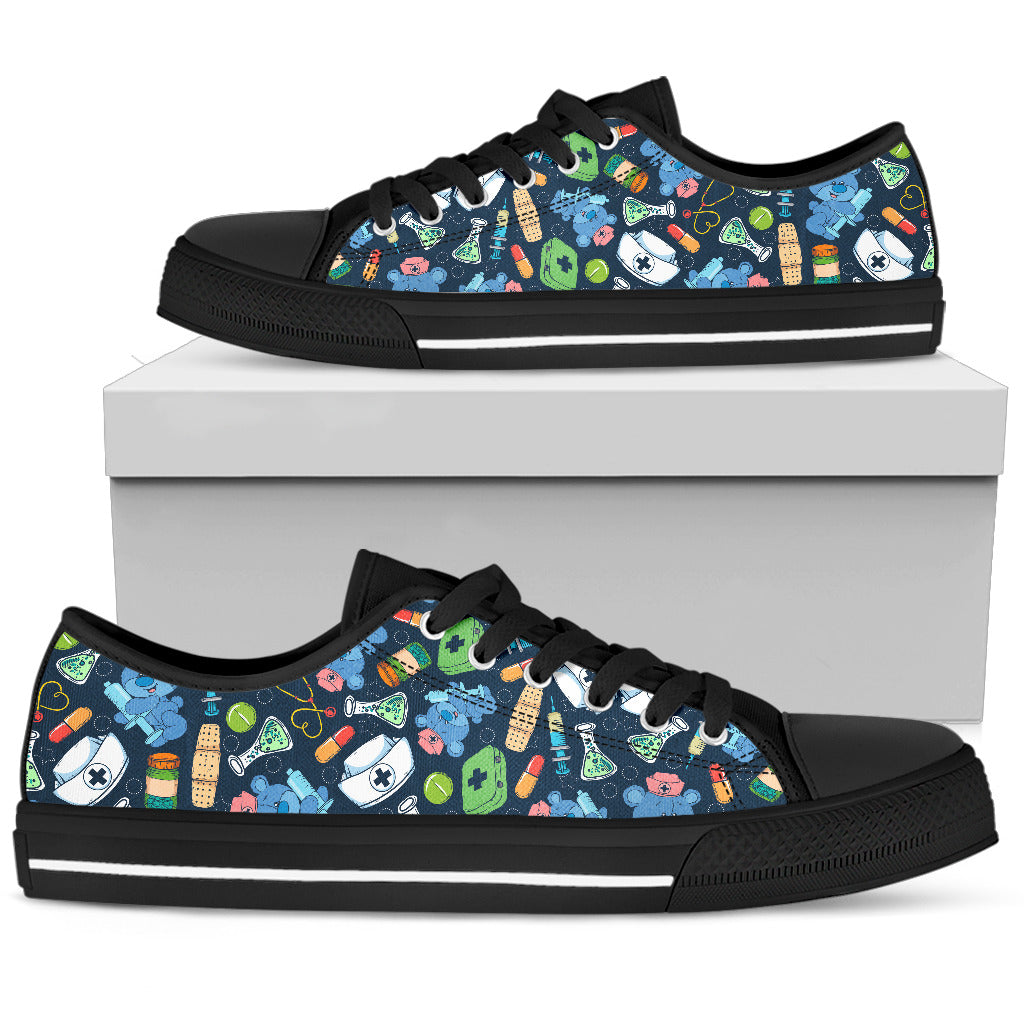 Nurse Doodle Black Low Top Shoe