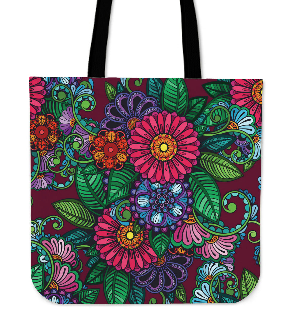 Colorful Henna Flowers Cloth Tote Bag