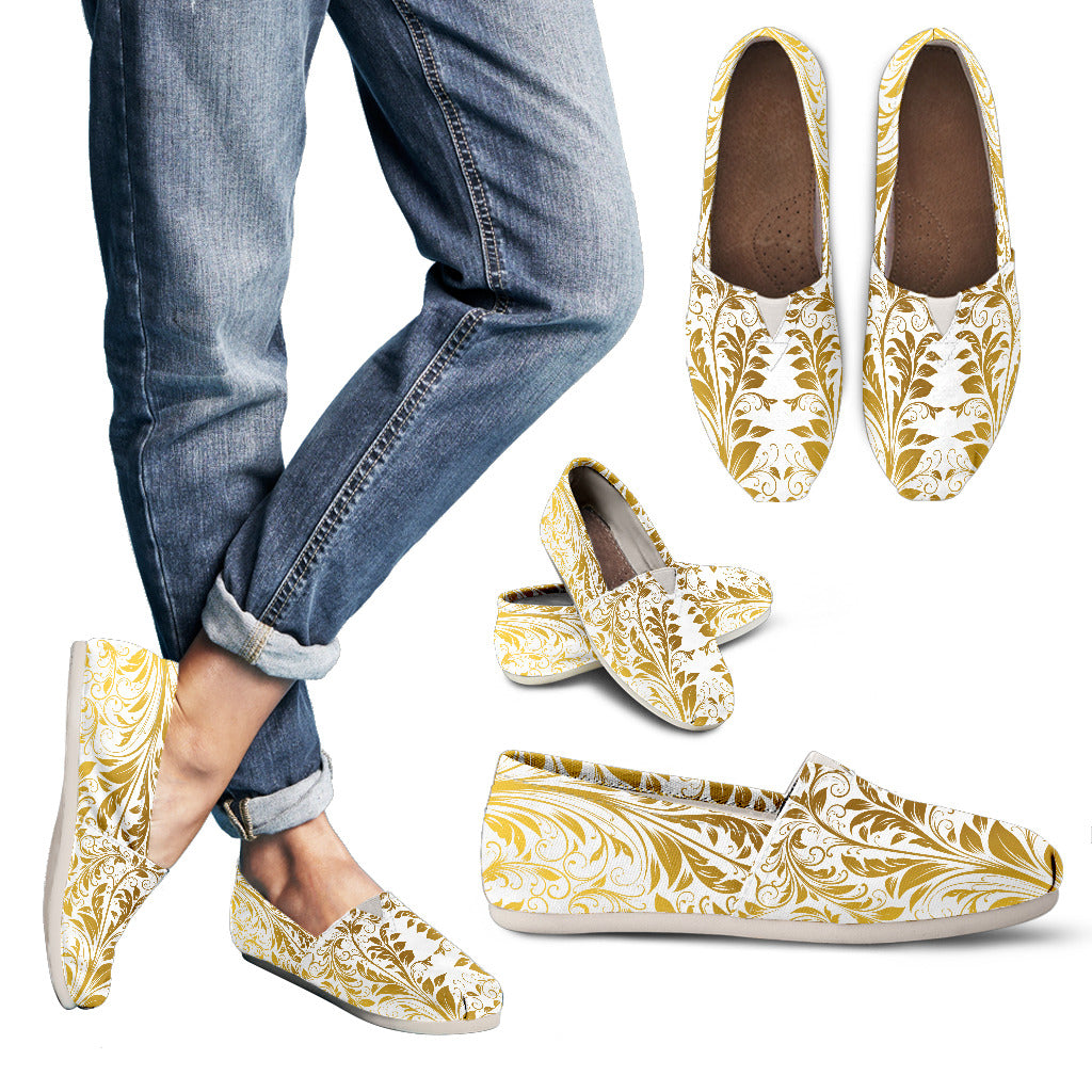 White and Gold Leaf Womens Casual
