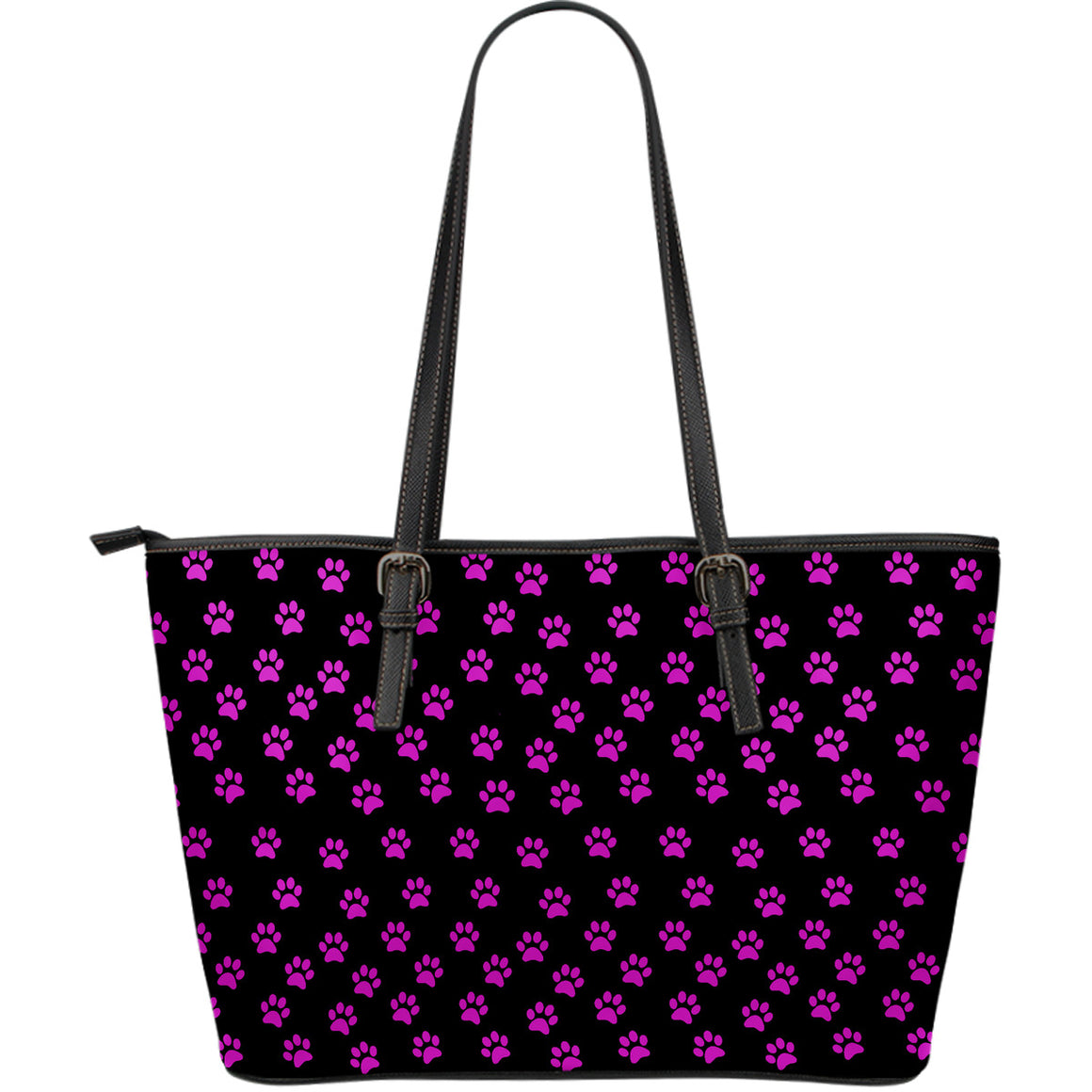 Paw Prints Large Leather Tote