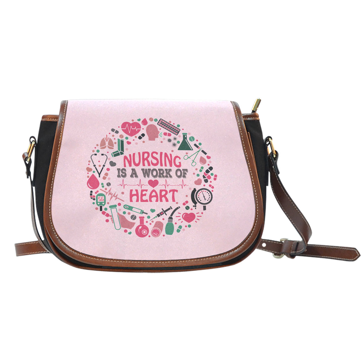 Nursing Is a Work of Heart Saddle Bag