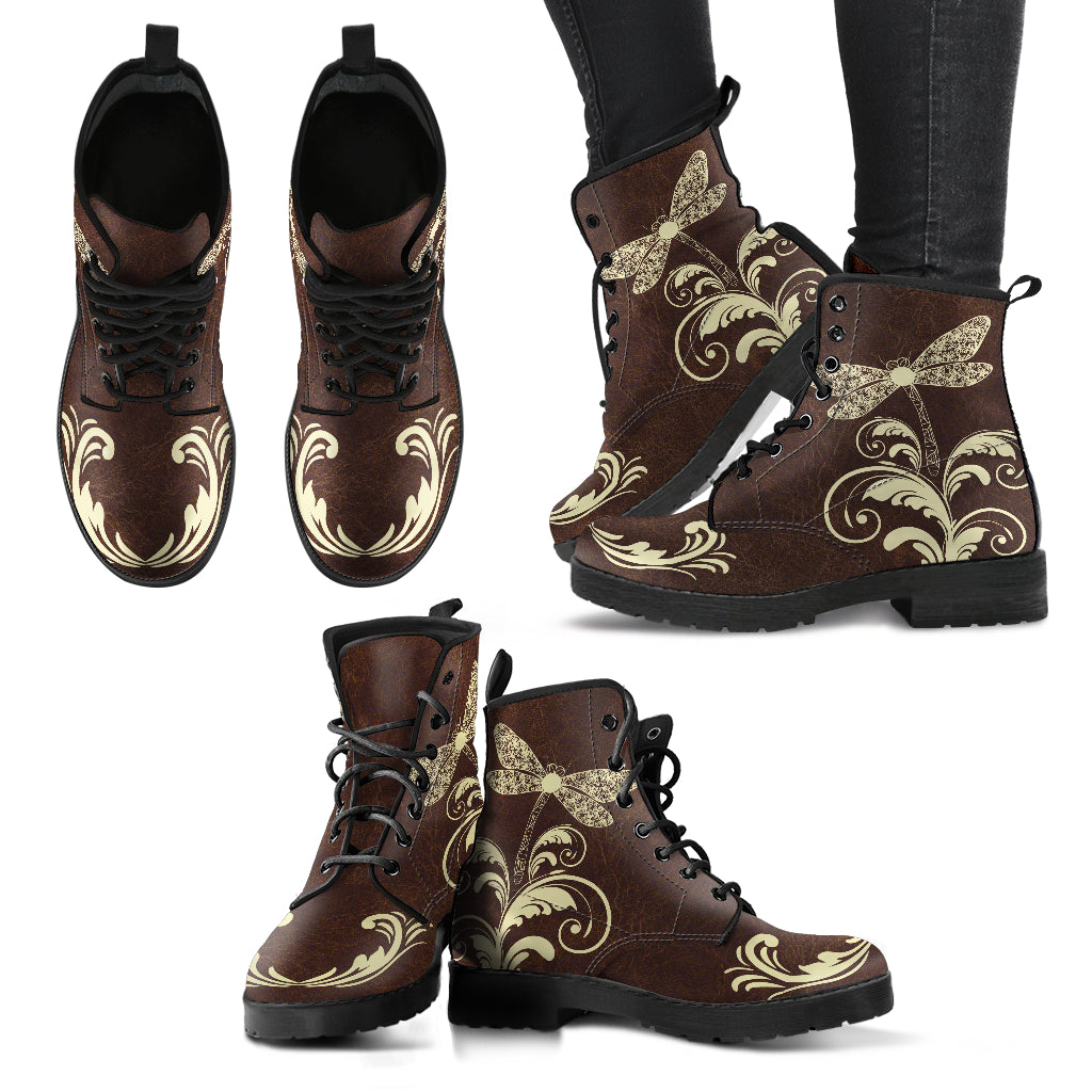Swirl and Dragonfly Handcrafted Boots