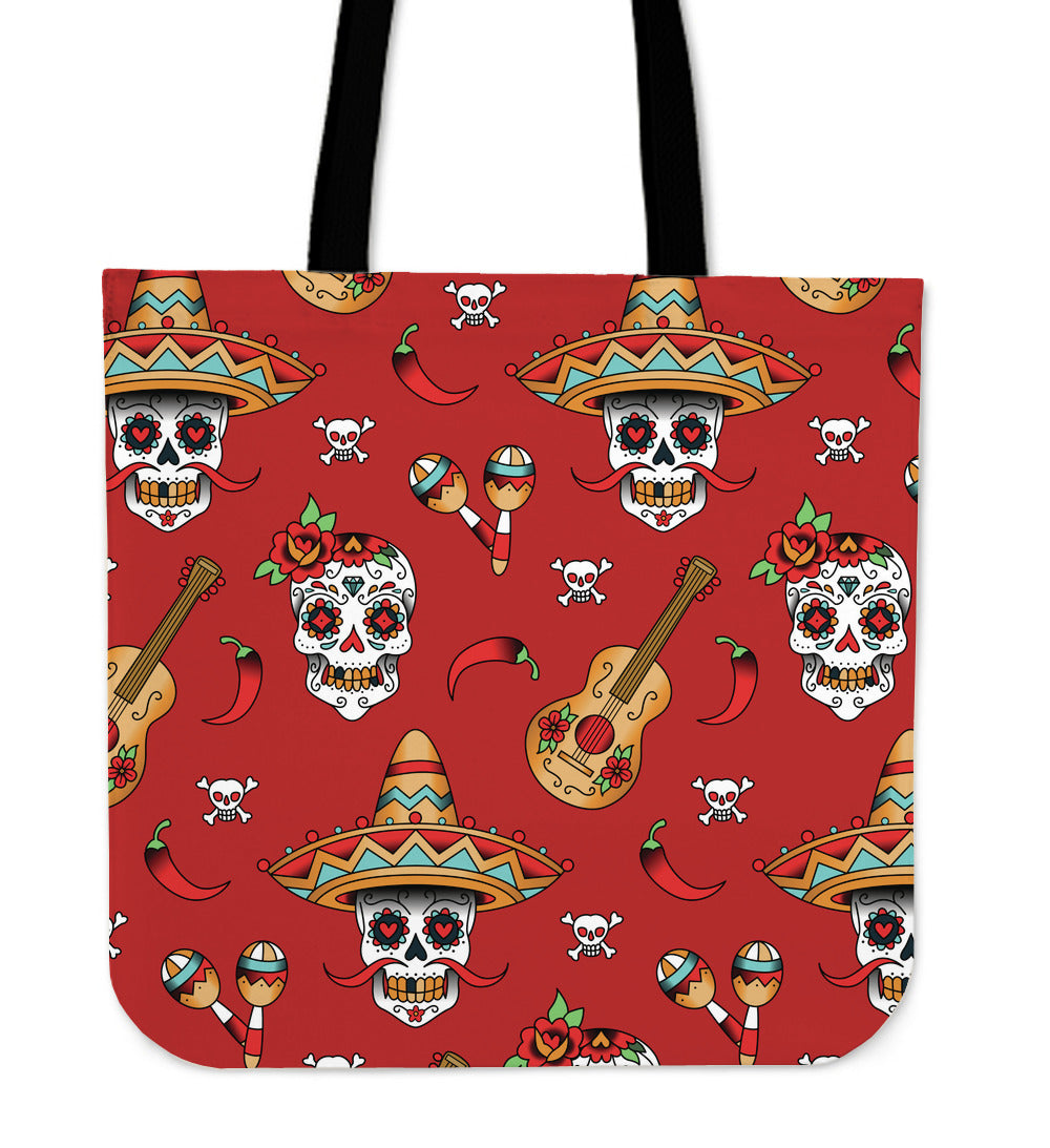 Guitar Skull Cloth Tote Bag