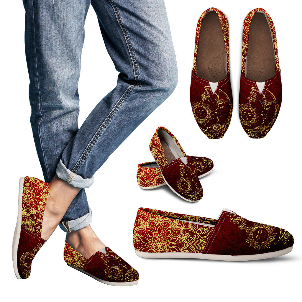 Red Sun and Moon Handcrafted Casual Shoes