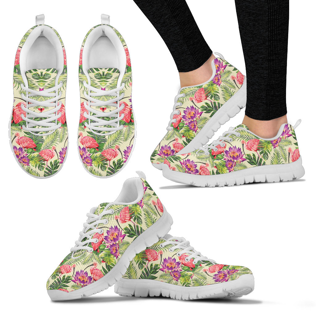 Flowers and Flamingos Sneakers