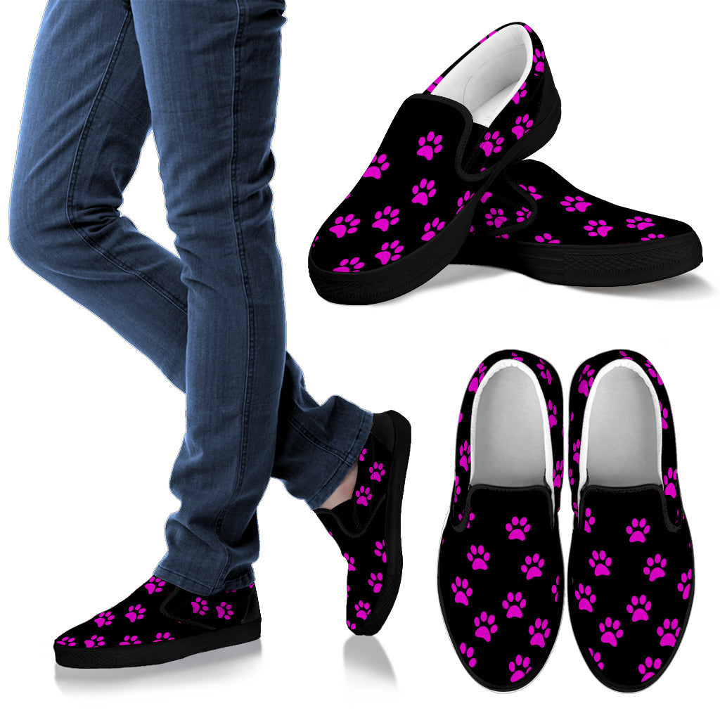 Women's Slip On Purple Paw Prints
