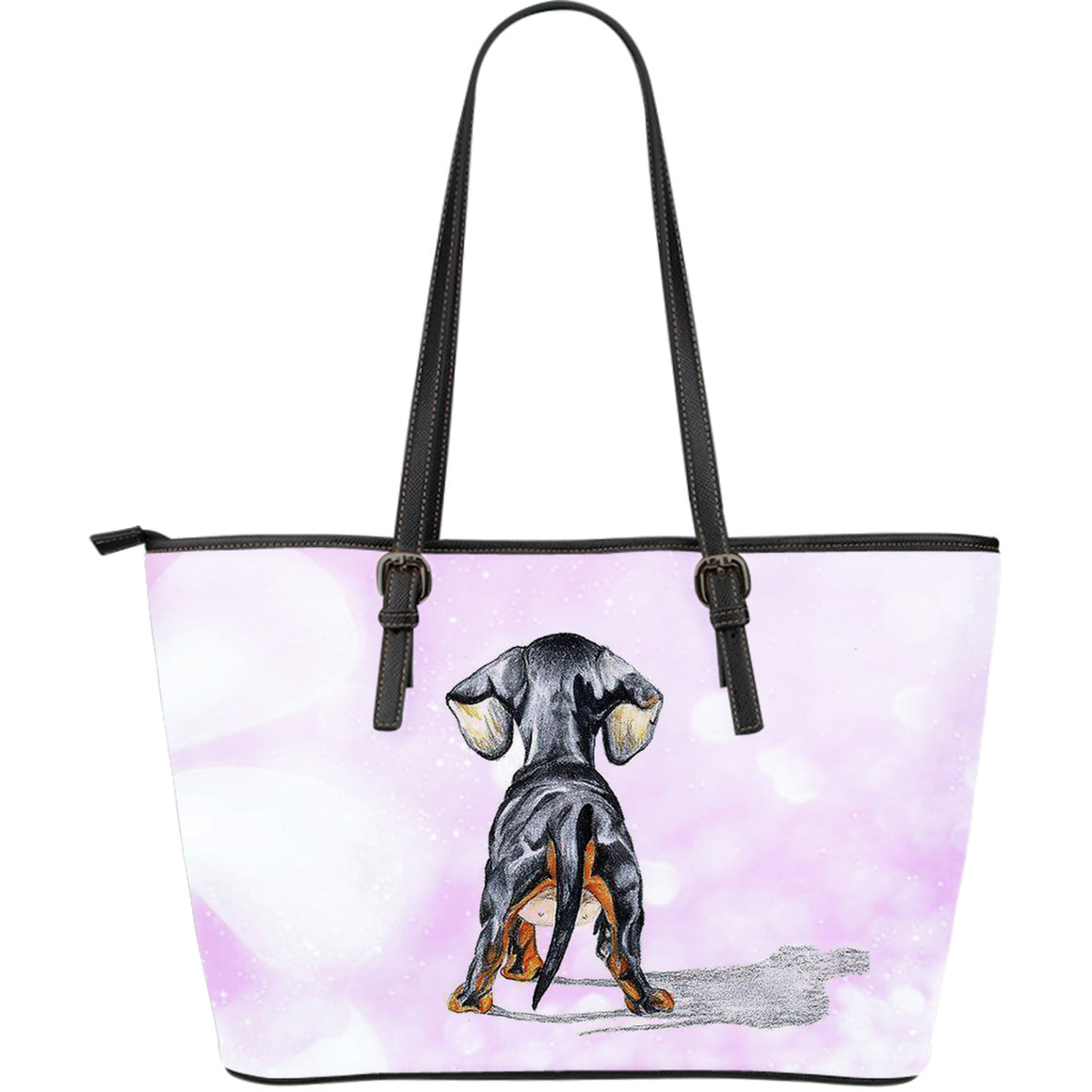 Dachshund Large Leather Tote