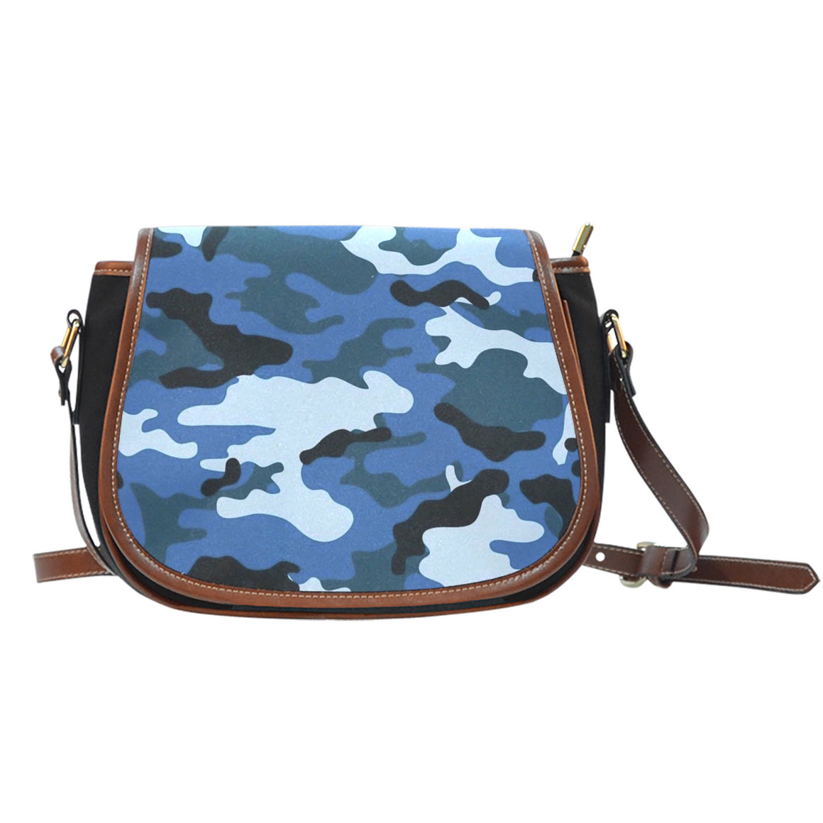 Blue Camouflage Leather Trim Saddle Bag
