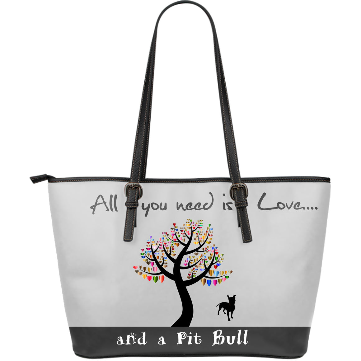 All You Need Is Love And A Pitbull Grey Large Leather Tote