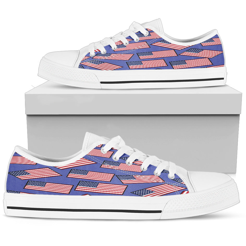 AMERICA'S PRIDE! AMERICA'S FLAGSHOE - Women's Low Tops (blue bg)