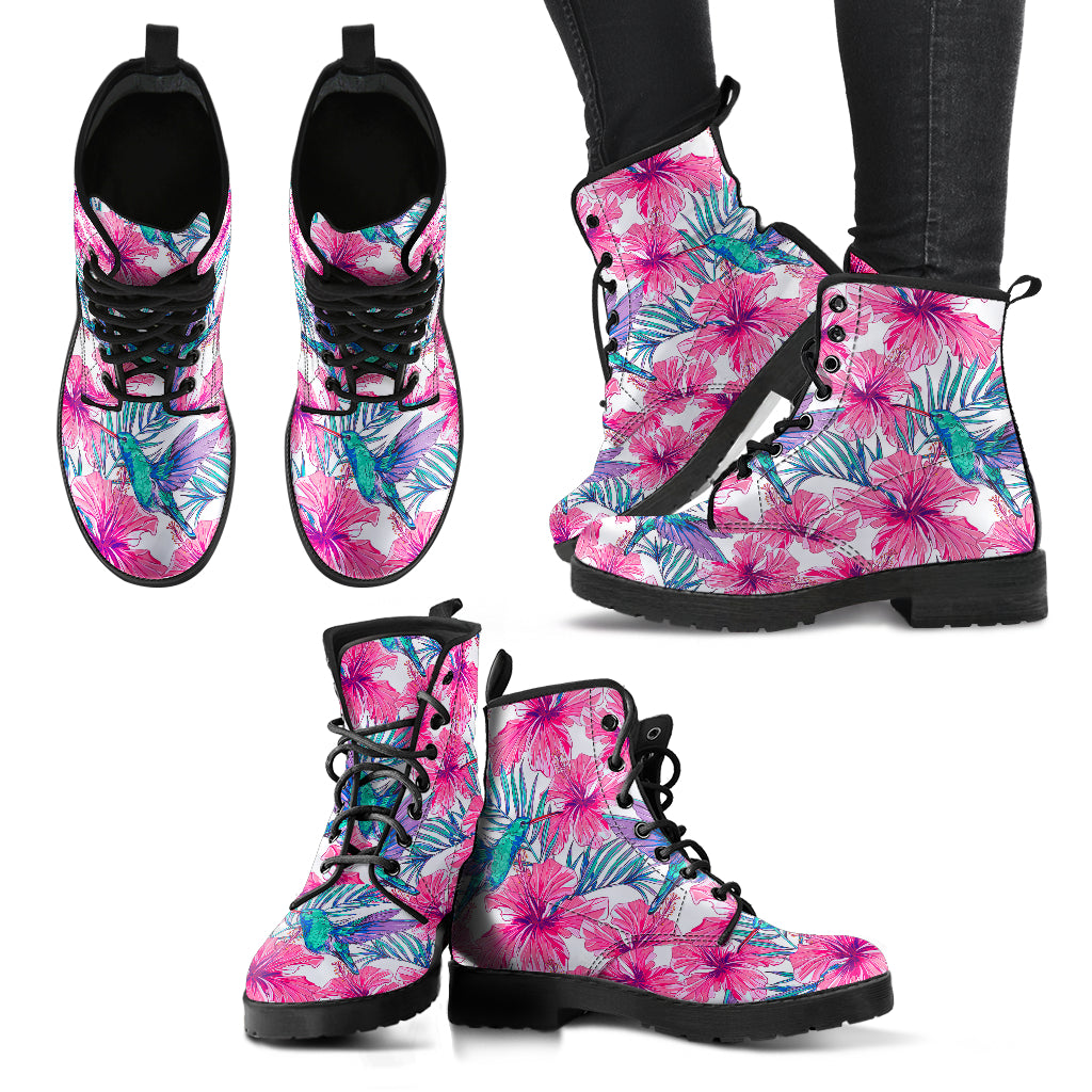 Pink Tropical Hummingbird Boots