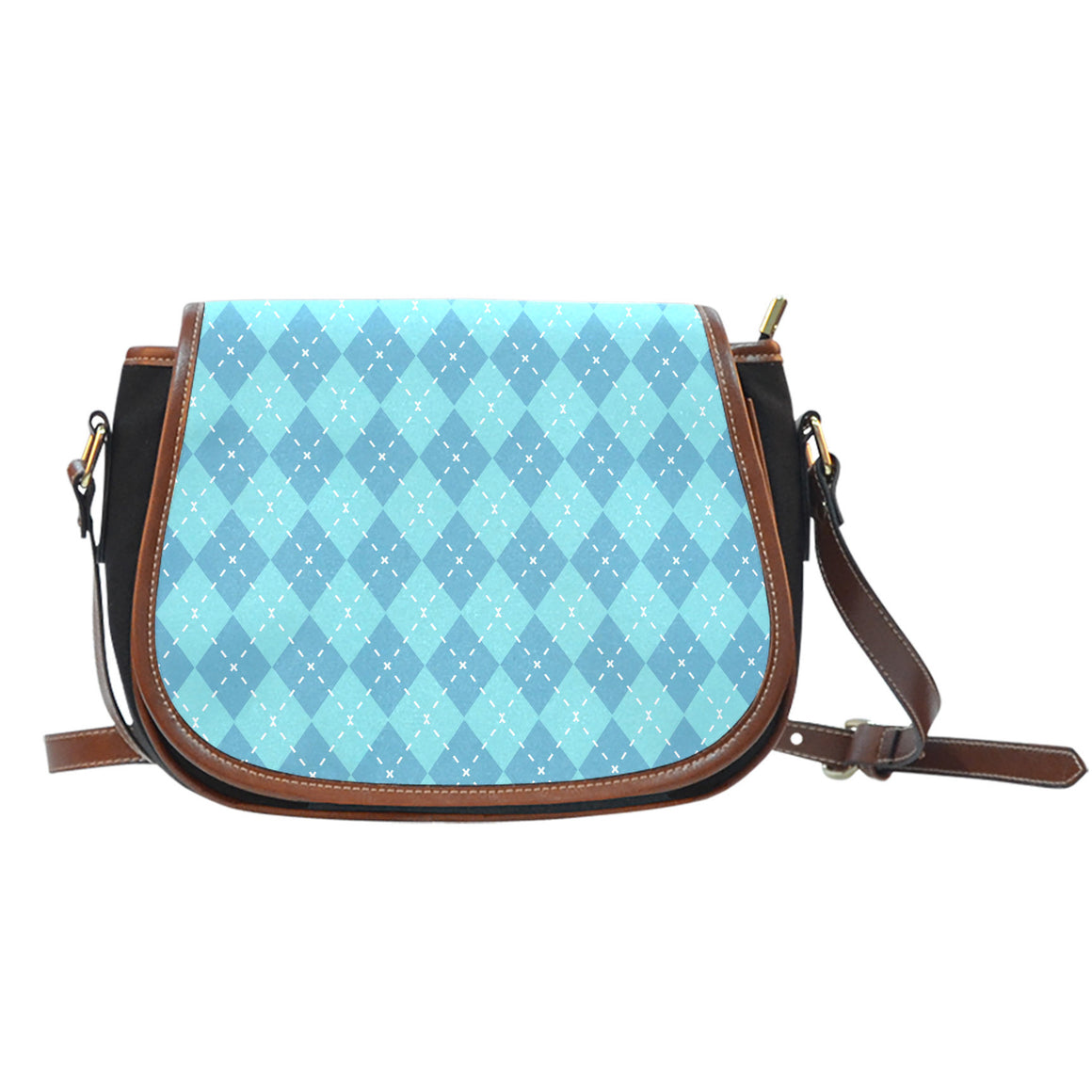 Blue Argyle Black Canvas Leather Trim Saddle Bag